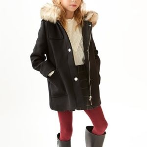 Zara girls black faux fur hooded duffle coat